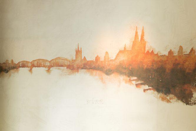 Skyline Cologne -Wandgestaltung im Restaurant Maximilian Lorenz